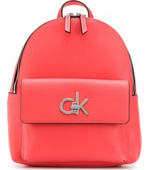 calvin klein structured logo plaque backpack - pink