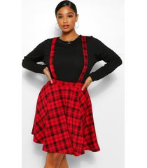 plus geruite pinafore rok, rood
