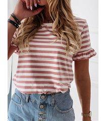 camiseta de manga corta con ribete de volantes a rayas cuello
