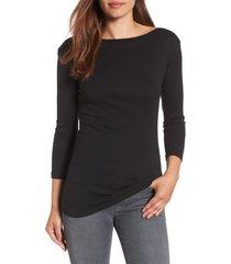 women's caslon three quarter sleeve tee, size medium - black