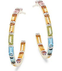 14k yellow gold, multi-color sapphire & diamond hoop earrings