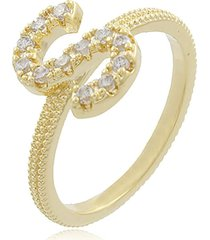 anel viva jolie letra s zircôrnias cristais ouro