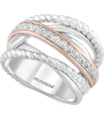 balissima by effy diamond rope twist ring (1/10 ct. t.w.) in sterling silver and 14k rose gold