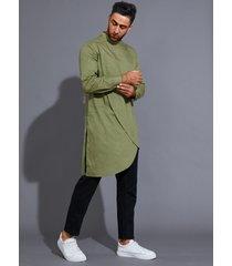 camiseta a media pierna con dobladillo asimétrico liso y cuello alto informal para hombre