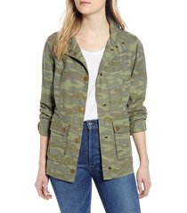 women's caslon cinch waist linen blend utility jacket, size x-large - green