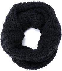 rick owens chunky knit scarf - black