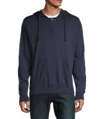 unsimply stitched men's long-sleeve cotton hoodie - navy - size s