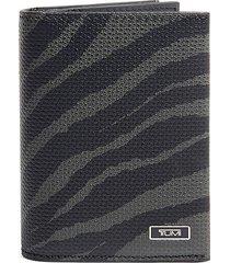 tumi men's tiger-print gusseted bi-fold leather card case - black tiger