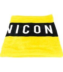 dsquared2 toalha de praia com estampa icon - amarelo