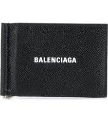 balenciaga money-clip foldover wallet - 1090 black/l white