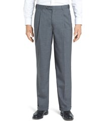 men's berle self sizer waist pleated lightweight plain weave classic fit trousers, size 38 x unh - grey
