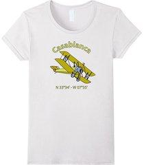 casablanca flight coordinates airplane t-shirt for aviators women