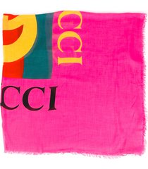 gucci pink silk logo shawl pink/multicolor/logo sz: