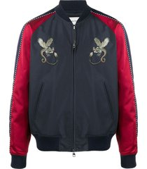 alexander mcqueen dragon-embroidered bomber jacket - blue