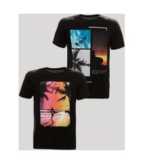 kit de 2 camisetas de algodão com estampa manga curta gola careca preto