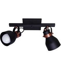 spot cairo base trilho para 2 lâmpadas e27 preto e cobre