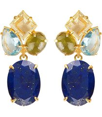 2-in-1 lapis & quartz earrings