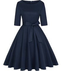 belted knee length party dress