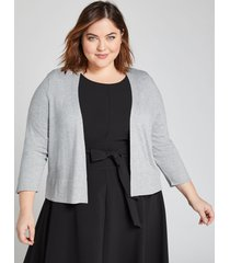 lane bryant women's 3/4-sleeve cropped cardigan 18/20 light heather gray