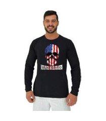 camiseta manga longa moletinho mxd conceito american skull masculina
