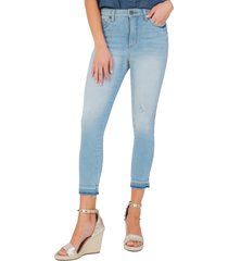 women's kut from the kloth connie high waist released hem crop jeans, size 10 - blue