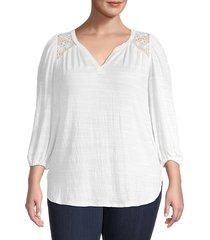 max studio women's plus crinkled v-neck top - white - size 1x (14-16)