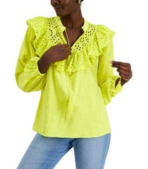 inc petite cotton eyelet-embroidered tie-neck top, created for macy's
