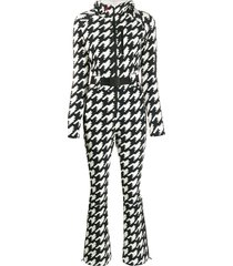 perfect moment houndstooth hooded jumpsuit - black