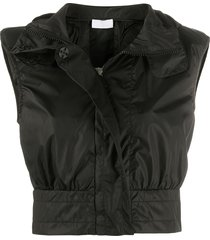 no ka' oi hooded cropped gilet - black