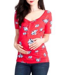 women's nom maternity snap placket maternity/nursing tee, size small - pink