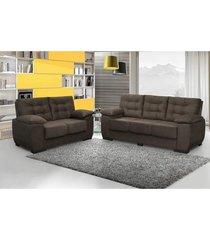 conjunto de sofá luxemburgo 3 e 2 lugares tecido suede amassado café - moveis marfim