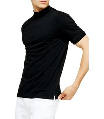 men's topman mock neck t-shirt, size x-large - black