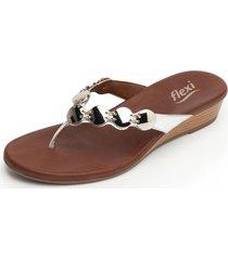 sandalia casual linda plata flexi