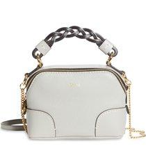 chloe mini daria hearty floral print leather crossbody bag - grey