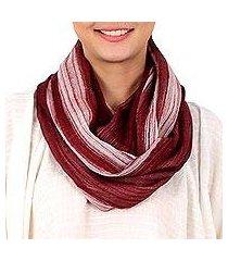 cotton infinity scarf, 'burgundy horizon' (thailand)