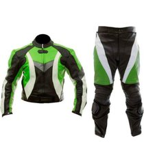 new mens green white black motorcycle leather suit leather jacket and pants