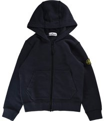 stone island sweatshirt with zip and bleu marine hood