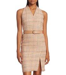 akris punto women's summer sleeveless belted tweed dress - nude multicolor - size 8