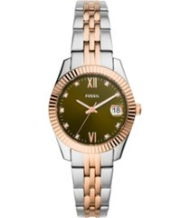 fossil women's scarlette mini two-tone bracelet watch 32mm