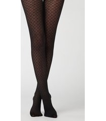 calzedonia 50 denier tights with beehive pattern woman black size xl