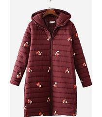 cappotto plus size in cotone lungo con cappuccio