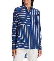 akris punto women's square stripes silk tunic blouse - lake desert - size 2
