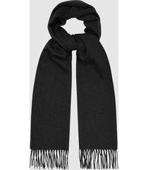 reiss ashton - lambswool cashmere blend scarf in black, mens