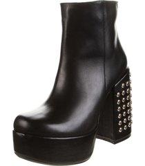 botas odette de cuero natural negro con taco forrado rosevelt