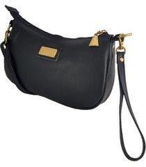 bolsa carteira clutch topgrife transversal couro preto - preto - feminino - dafiti