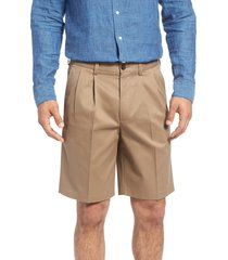 men's big & tall nordstrom men's shop smartcare(tm) pleated shorts, size 44 - beige