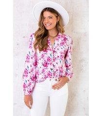 floral print blouse roze