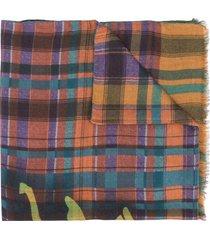 etro check print selvedge scarf - orange