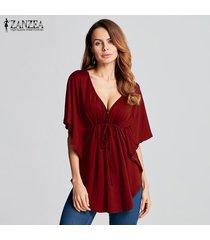 zanzea 2018 mujeres del verano blusas camisas con cuello en v manga del batwing de las señoras de gran tamaño tes de las tapas casual tamaño flojo blusas femininas plus vino tinto -rojo