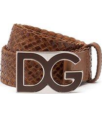 dolce & gabbana woven logo-plaque belt - brown